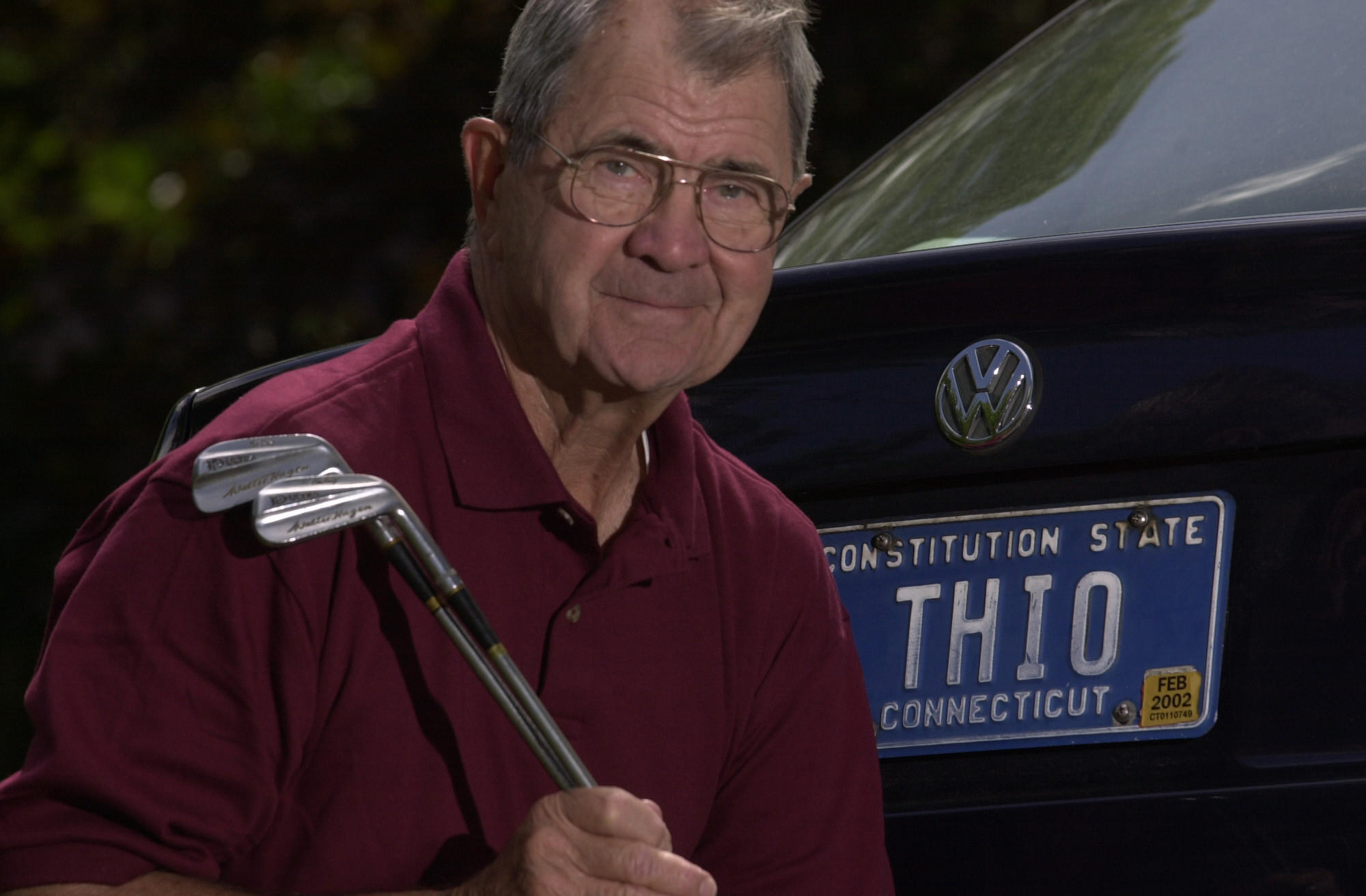 Bill Whedon of West Hartford played in the 1955 Insurance City Open as an amateur and is the only player to ever record two holes in one in a pro event. Since the 1950's he has had a licence plate for his car 'THIO' to signify his Two Holes in One. He is holding the 3 and 5 irons he used to hit the holes in one.