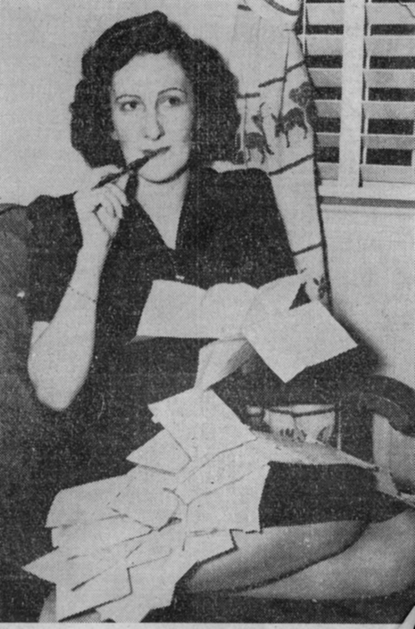 The late Norma Sestero as she penned her Glastonbury Newsletters. The Glastonbury correspondent for the Hartford Times sent newsletters to servicemen and woman serving in World War Two.