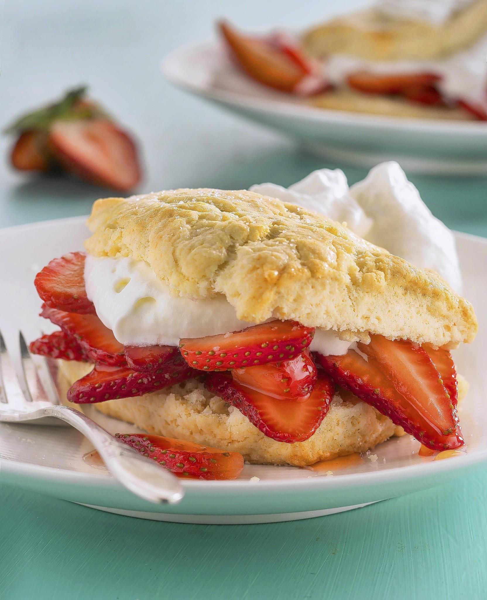 Finished strawberry shortcake recipe.