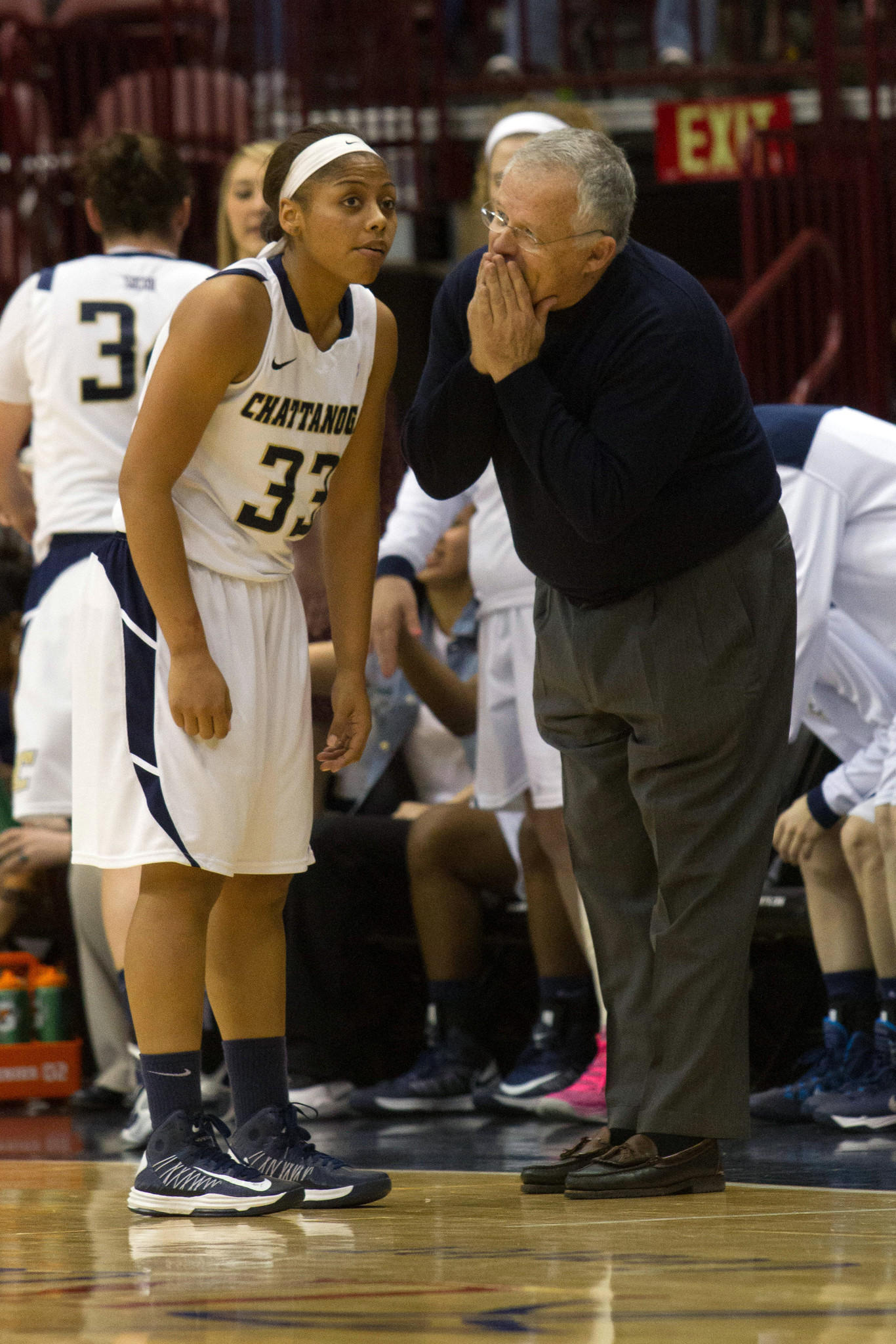 Chattanooga Lady Mocs head coach Jim Foster talks with guard Tatianna Jackson (33) during the second half against the Davidson Wildcats of the championship game of the Southern Conference basketball tournament. Fister has his fourth program into the NCAA tournament.