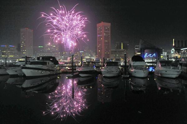 """Fireworks at the finale of the New Years Eve Spectacular at the <a class=""""taxInlineTagLink"""" id=""""PLTRA000101"""" title=""""Inner Harbor"""" href=""""/topic/travel/tourism-leisure/inner-harbor-PLTRA000101.topic"""">Inner Harbor</a>."""