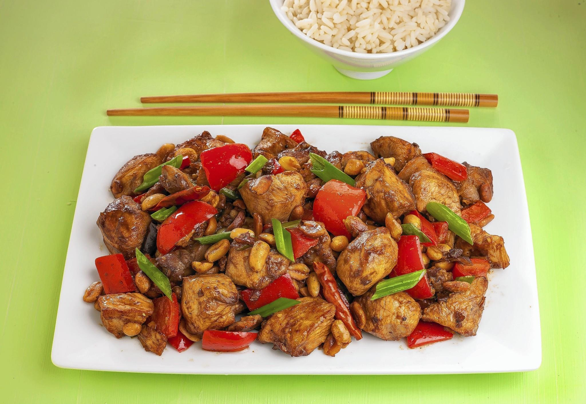 Kung pao chicken cooked by the recipe in the Tribune Studio.