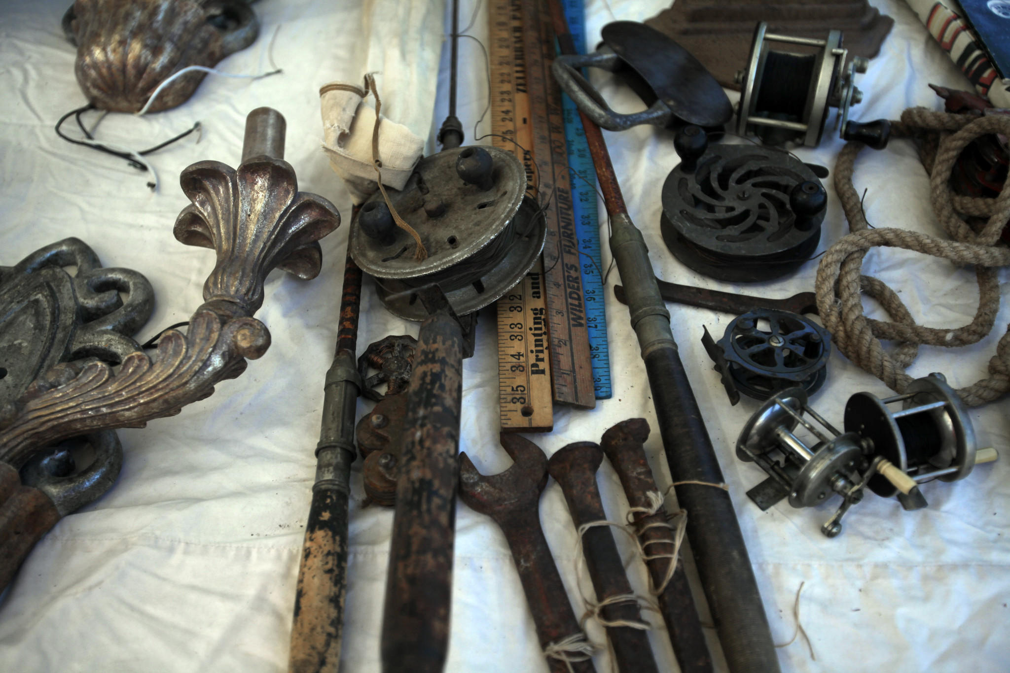 Fishing poles, reels, yardsticks. It's tough to decide what to keep and what to get rid of.