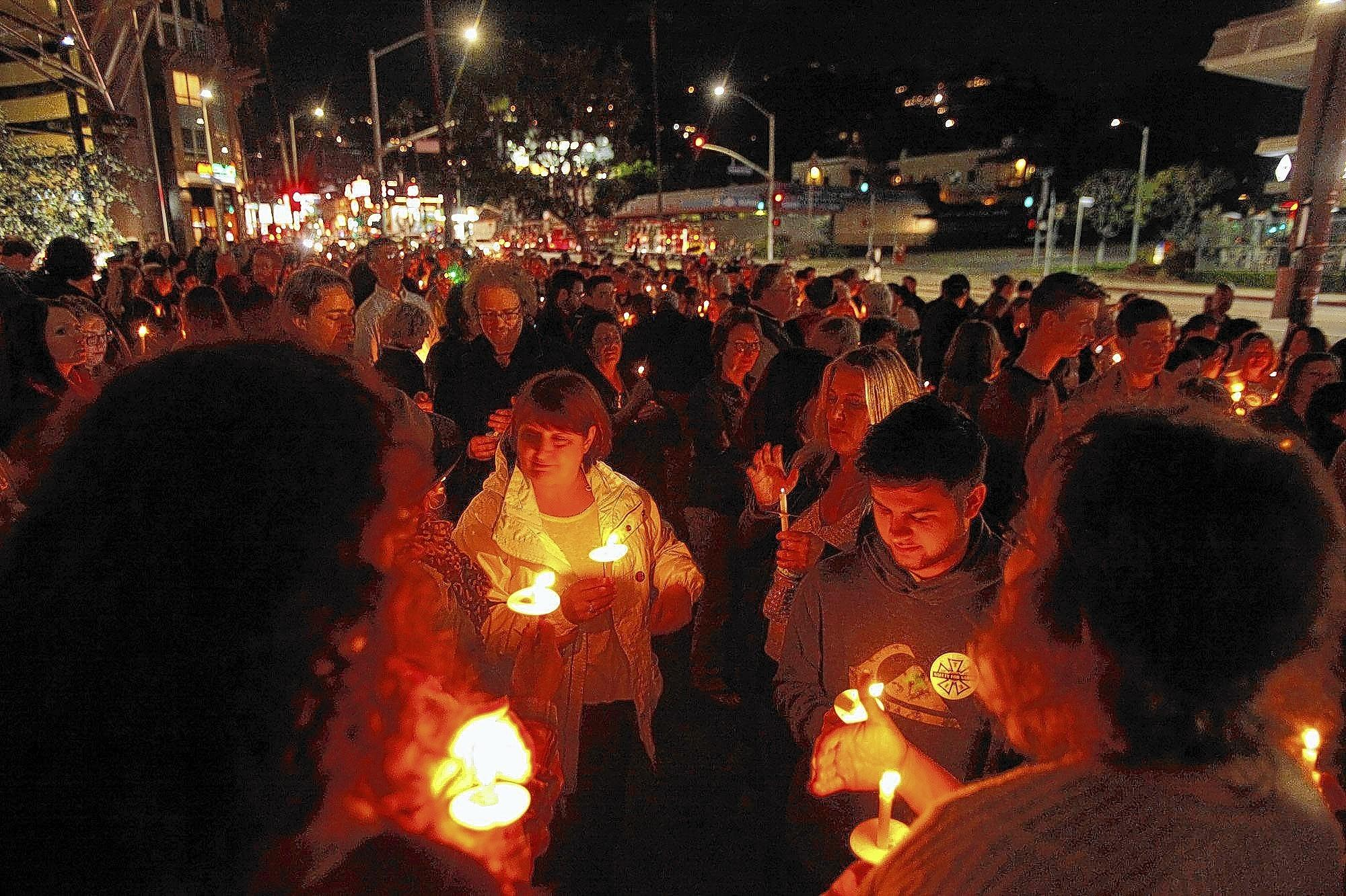 Mourners attend a candlelight vigil for camera assistant Sarah Jones on Sunset Boulevard in Hollywood this month.