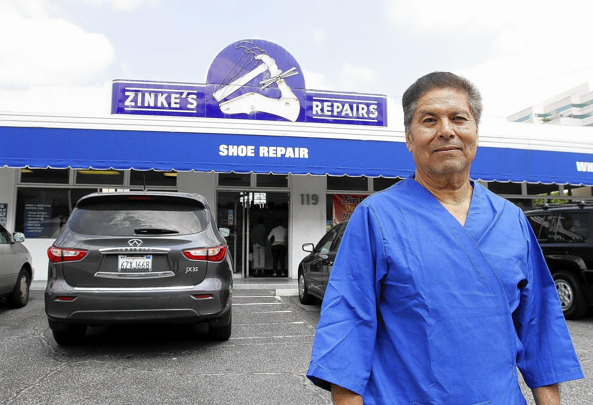 Zinke's Drive-In Shoe Repair owner Mike Ramirez at his store on the 100 block of W. California Ave. in Glendale on Friday, March 21, 2014. Zinke's is moving to Pasadena at the end of the month.