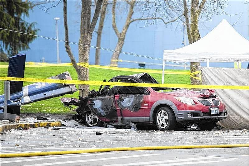 Wreckage is pictured where a television news helicopter crashed near the Space Needle in Seattle.