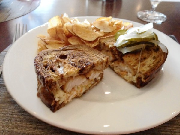Rockfish Reuben topped with a pickle and onion relish at Waypoint Seafood & Grill