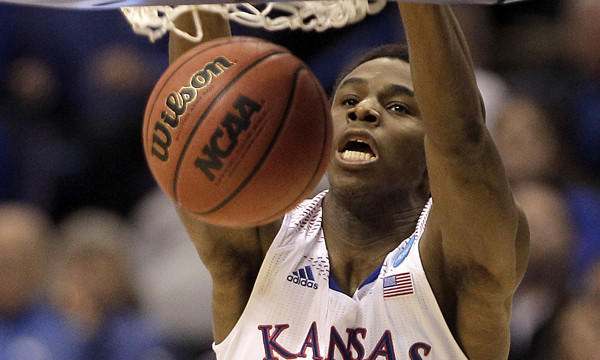 Kansas guard Andrew Wiggins dunks during the Jayhawks' 80-69 NCAA tournament win over Eastern Kentucky on March 21.