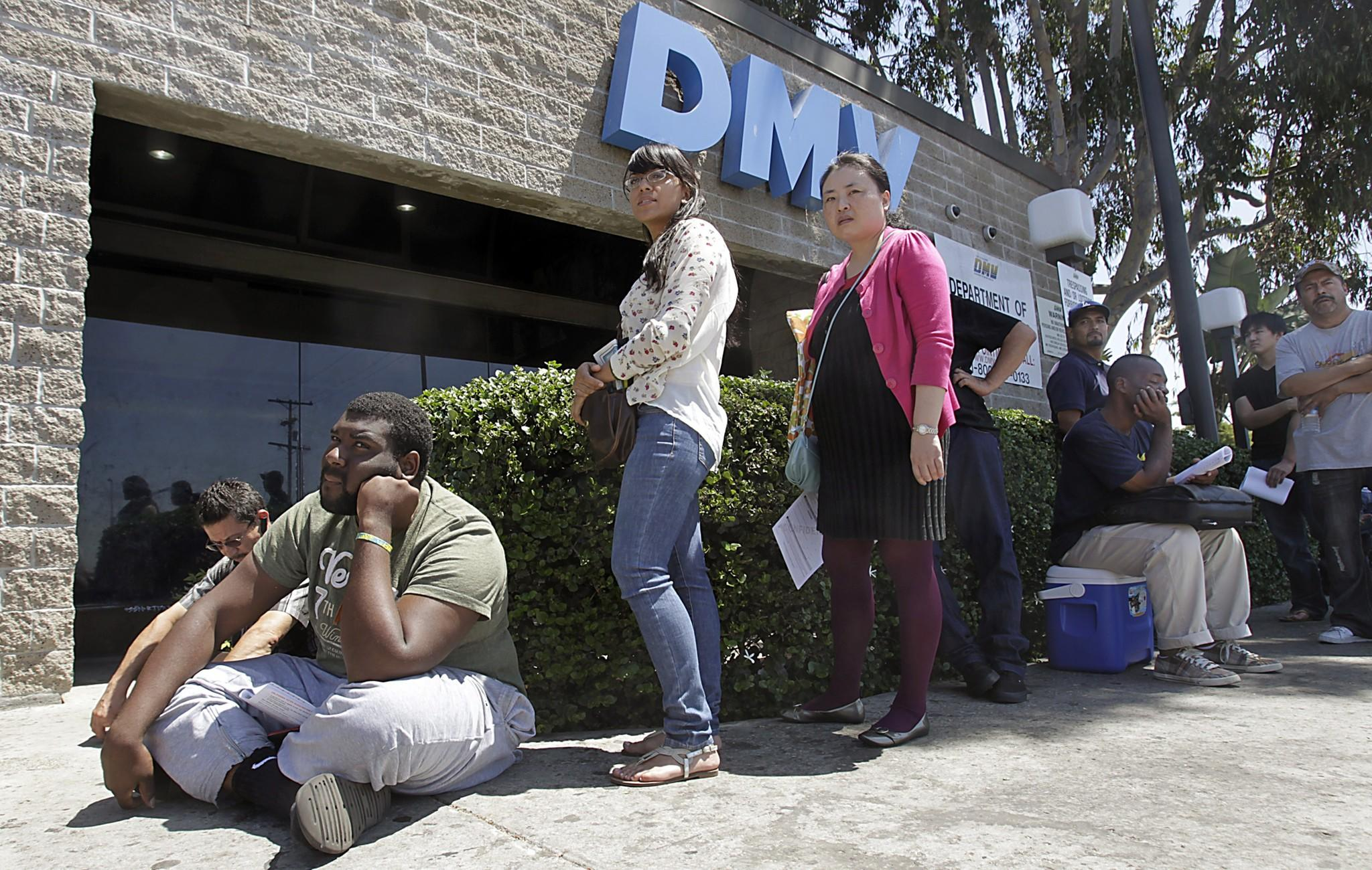 "The DMV ""has been alerted by law enforcement authorities to a potential security issue,"" according to a statement. A Los Angeles DMV branch is seen in 2012."