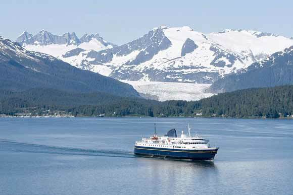 M/V Malaspina departs Auke Bay west of Juneau
