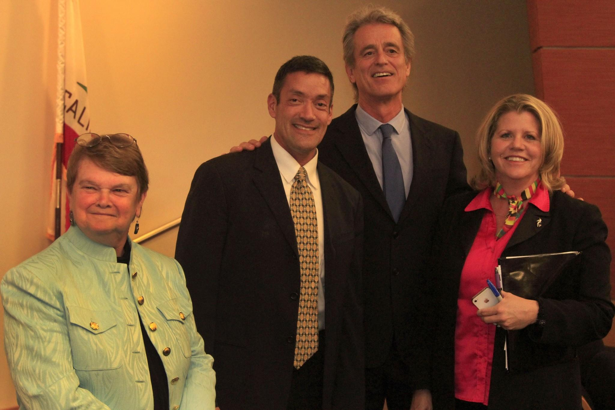 From left, supervisorial candidates Sheila Kuehl, John Duran, Bobby Shriver and Pamela Conley Ulich before Thursday's debate at UCLA.
