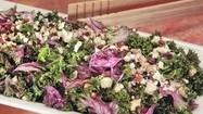 Recipe: Kale salad with farro, dried fruit and blue cheese