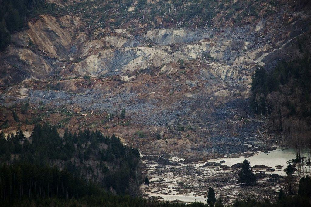 A huge segment of a hill is missing after a mudslide near the Stillaguamish River in Washington state.