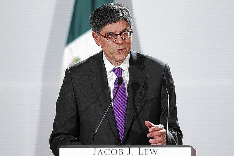 U.S. Treasury Secretary Lew speaks during a news conference in Mexico City