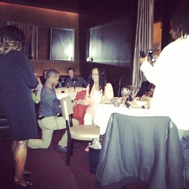 The Indiana Pacers' Roy Hibbert photographs a wedding proposal at Mastro's Steakhouse March 23, 2014.