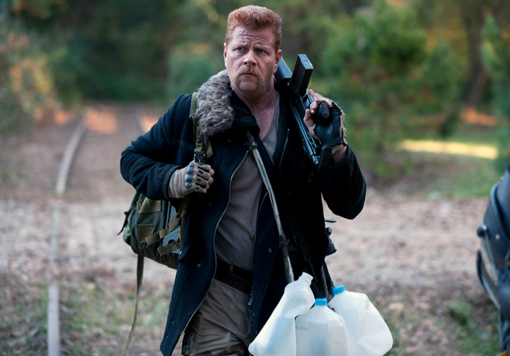 Abraham Ford (Michael Cudlitz) is waiting to find a recycling bin so he can properly discard these milk jugs