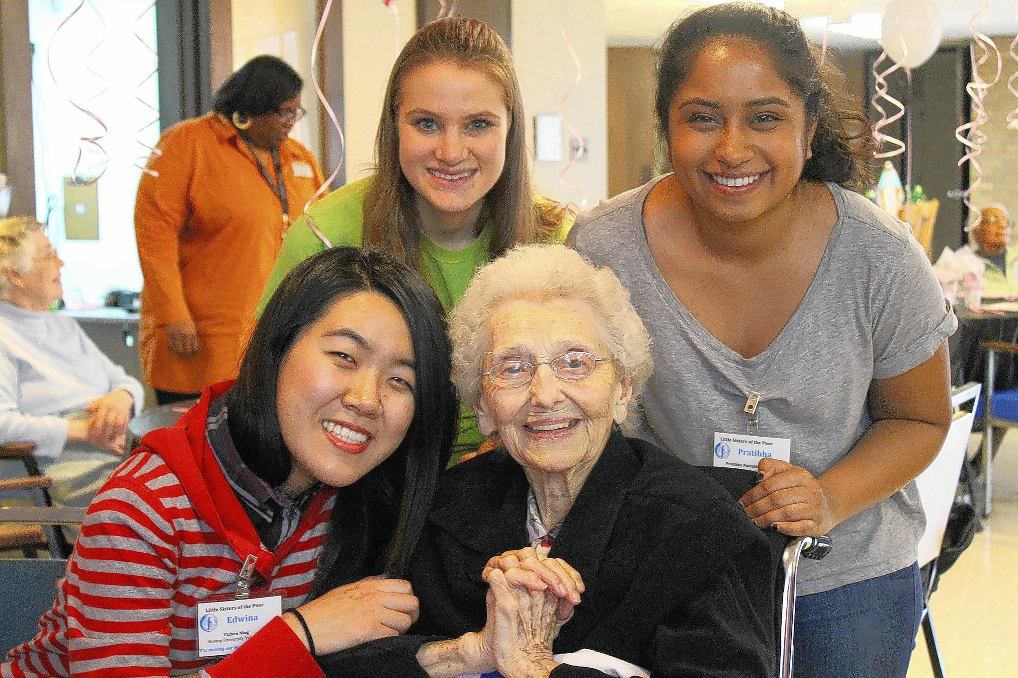 Boston University students take part in Alternative Spring Break in a visit to Catonsville, where they spent time with residents of Little Sisters of the Poor. Photo courtesy of Little Sisters of the Poor.
