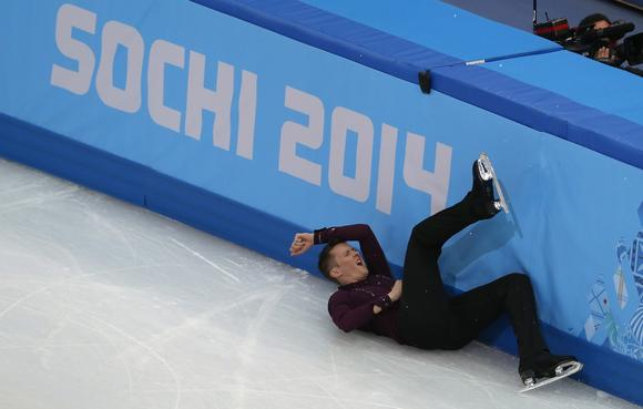 Jeremy Abbott after his fall in the individual short program at the Sochi Olympics.