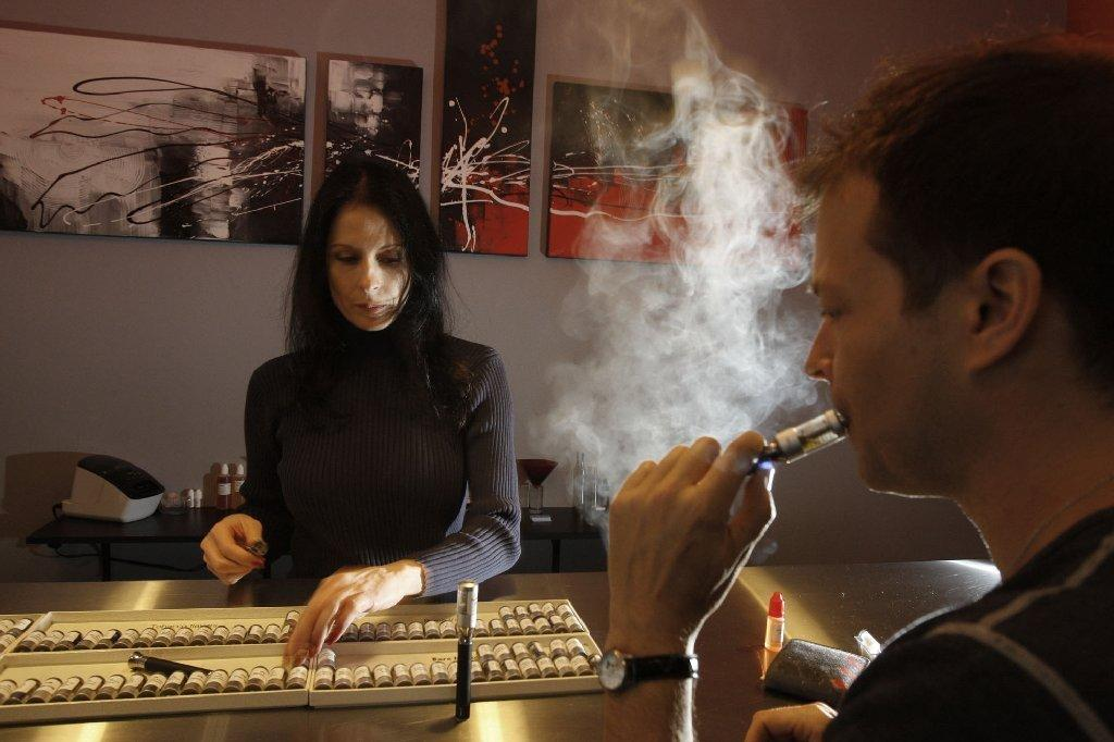 A vaping store, which sells e-cigarettes, in Los Angeles