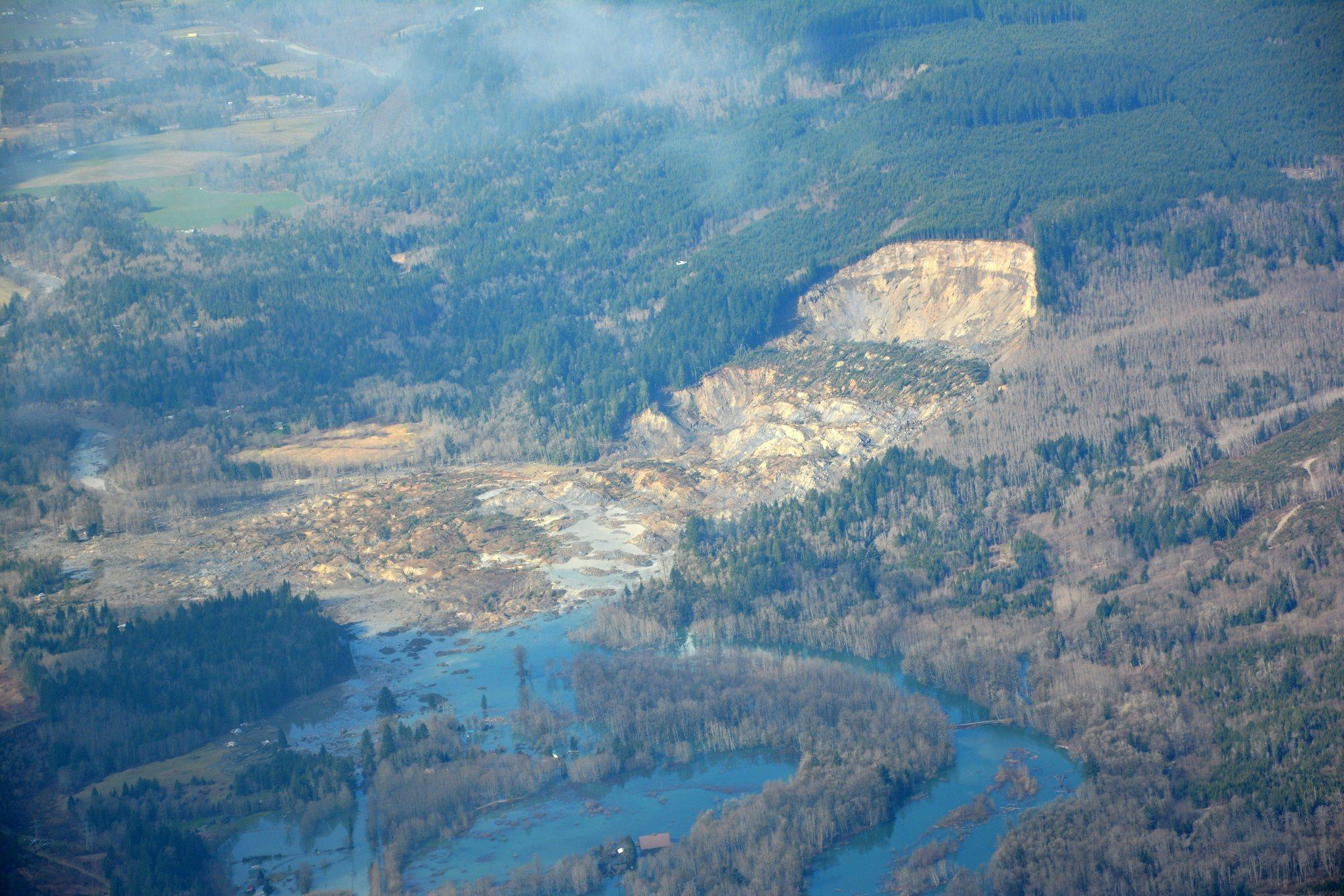 Handout image released by the Washington State Department of Transportation showing the scene of the mudslide.