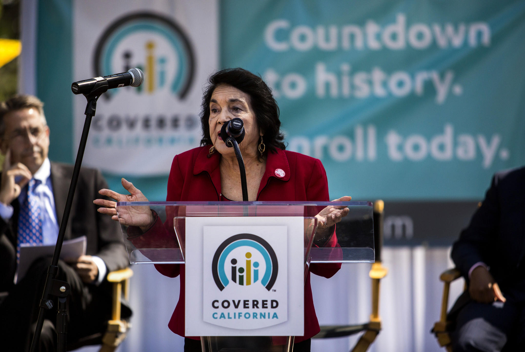 Labor leader Dolores Huerta of the United Farm Workers speaks at a recent rally in Los Angeles urging Californians to sign up for health insurance under the Affordable Care Act.