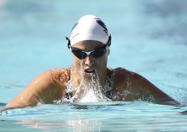 Amanda Beard competes in the womens 200 meter breaststroke during day 2 of the Santa Clara International Grand Prix at George F. Haines International Swim Center on June 17, 2011 in Santa Clara, California.