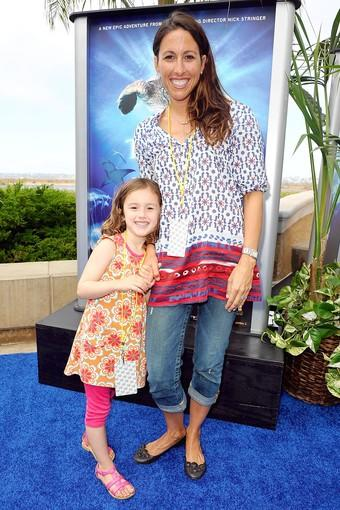 "Athlete Janet Evans and daughter Sydney arrive at the premiere of Sea World San Diego's ""Turtle: The Incredible Journey"" on June 21, 2011 in San Diego, California"