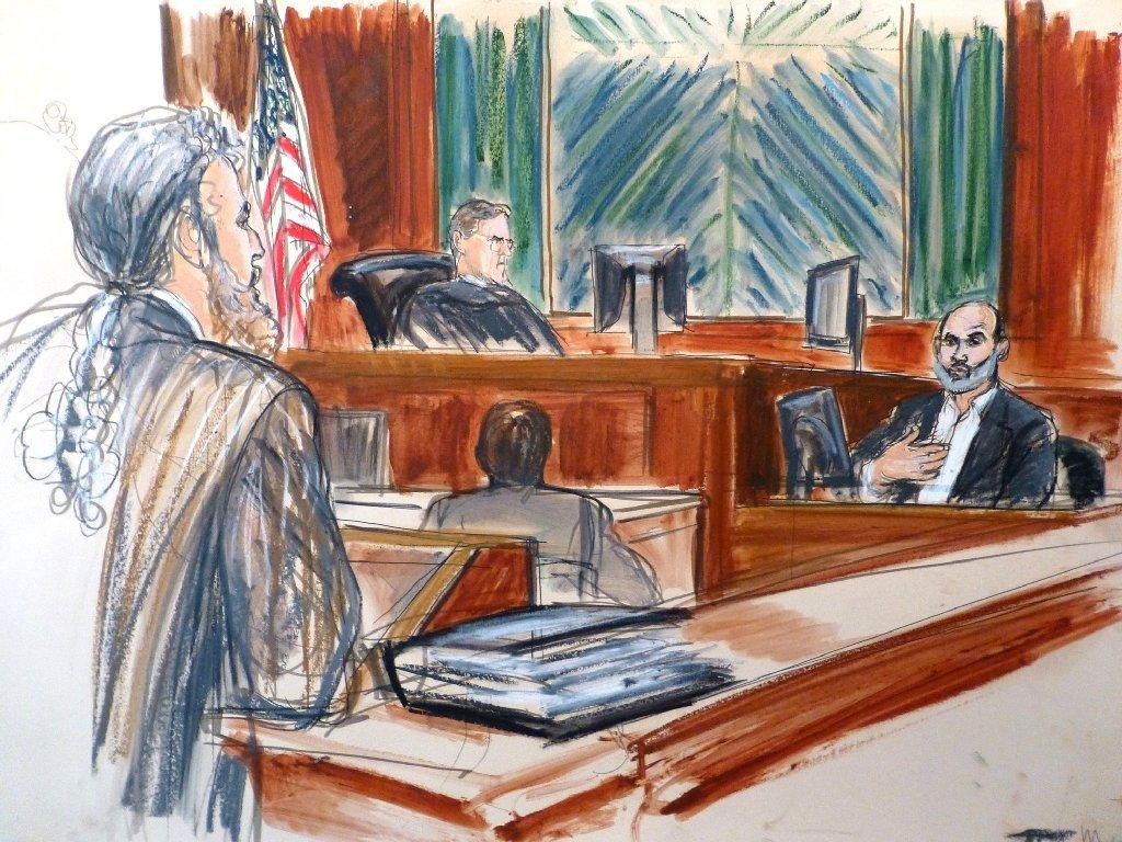 An artist's sketch shows Sulaiman abu Ghaith, right, testifying in his terrorism trial in New York last week. Jurors begin deliberating Abu Ghaith's fate Tuesday.