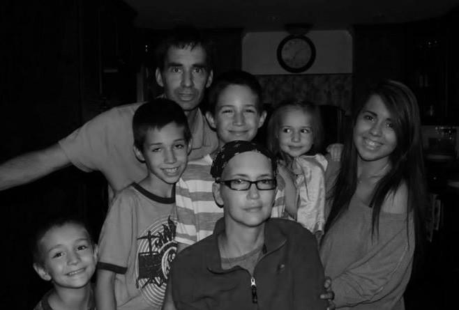 The Richard family, left to right: Brian, 4; Cameron, 10; father John; Sean, 12, mother Nancy; MacKenzie, 4 and Chelsea, 25.