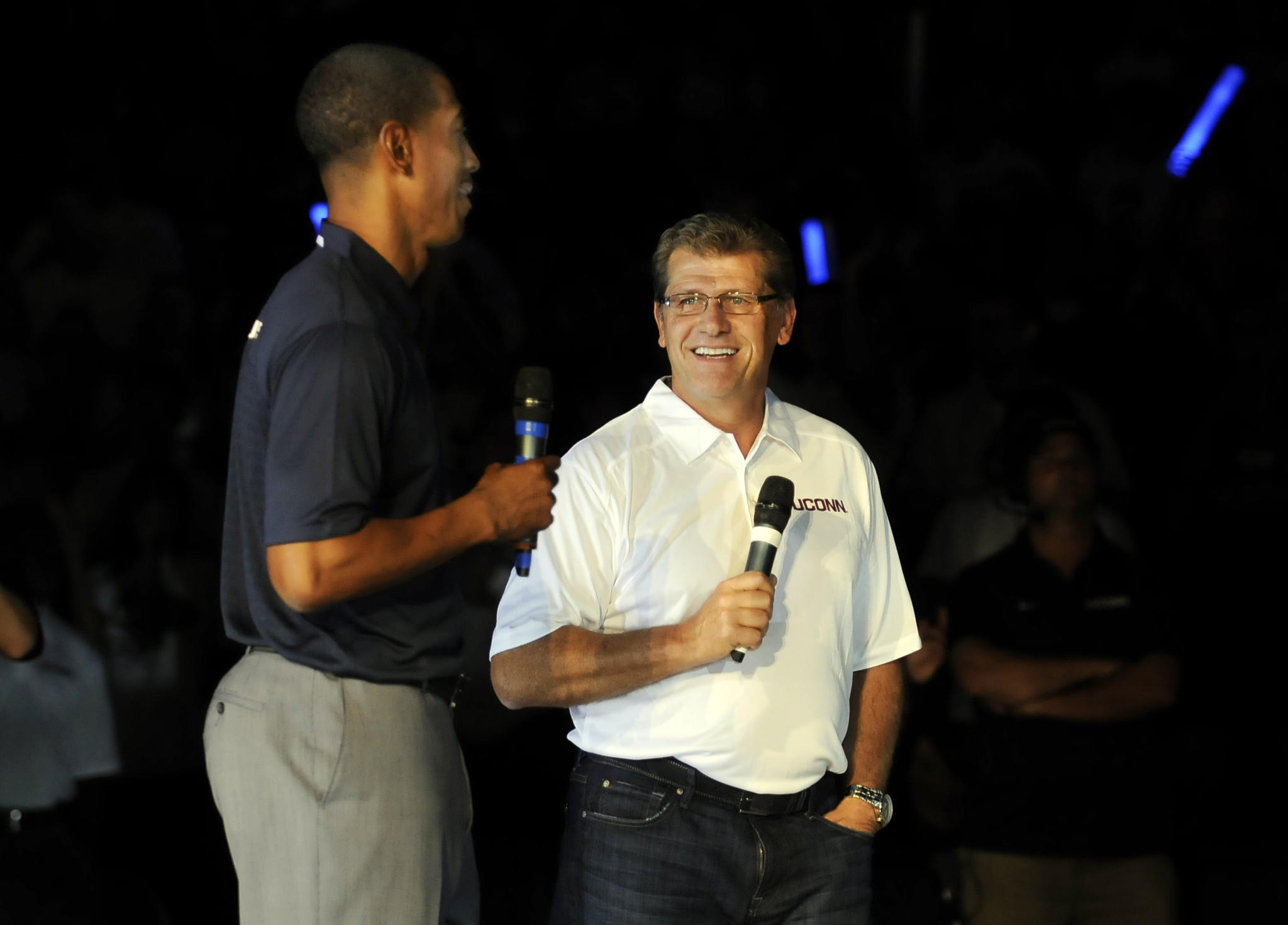 UConn head basketball coaches Geno Auriemma and Kevin Ollie address the fans at First Night at Gampel Pavilion in October.