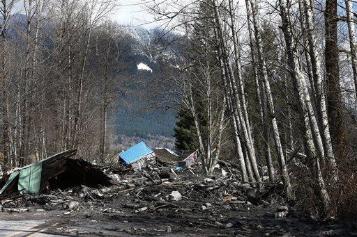 A house demolished by the Washington mudslide.