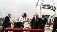 Godmother Priscilla Presley christens American Queen steamboat