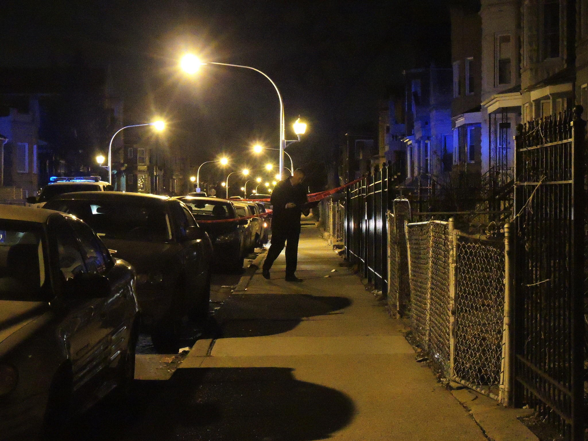 A detective at the scene of a shooting in the 4000 block of West 21st Place in the Lawndale neighborhood.