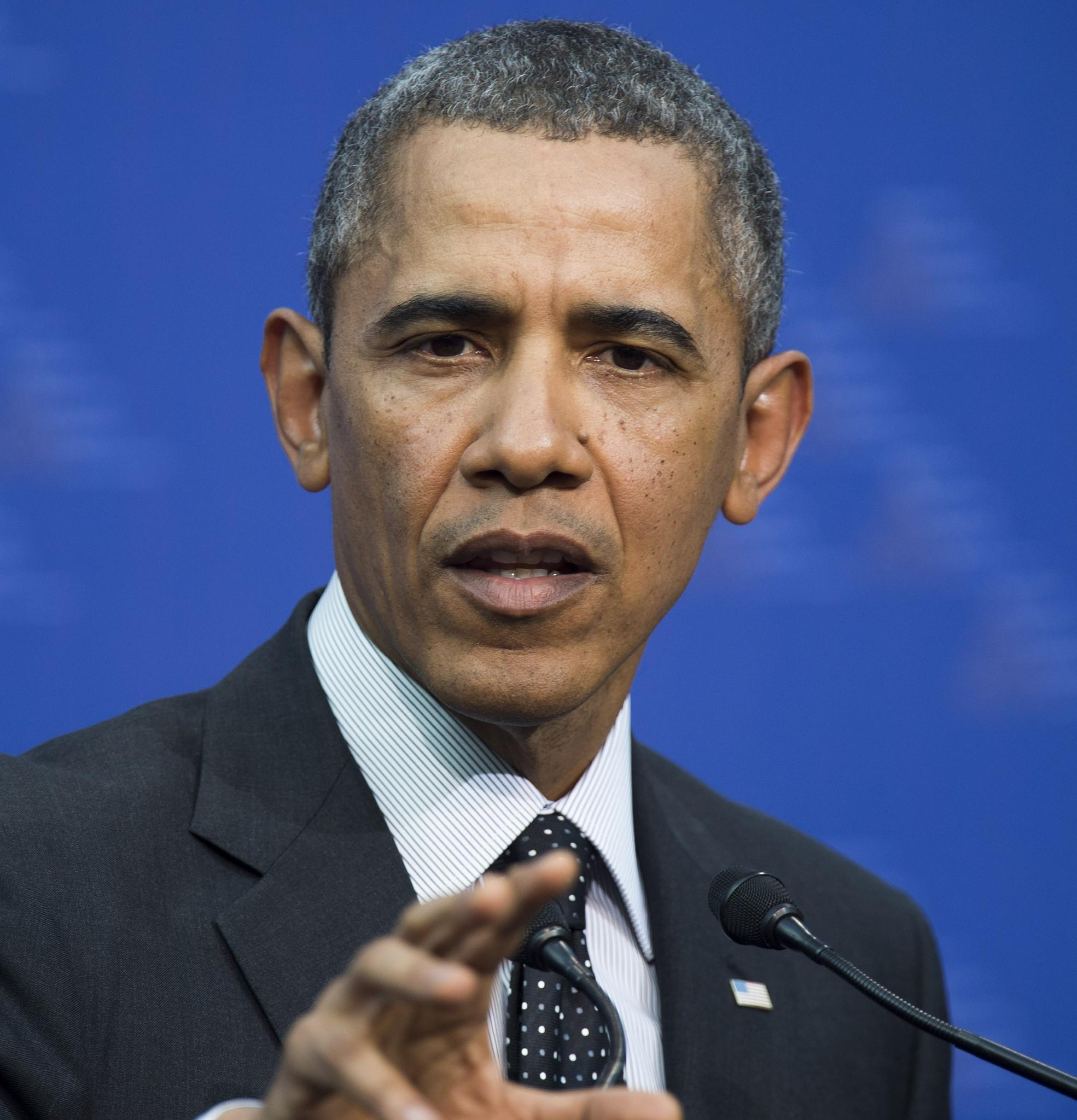 President Obama during a news conference in The Hague, Netherlands.
