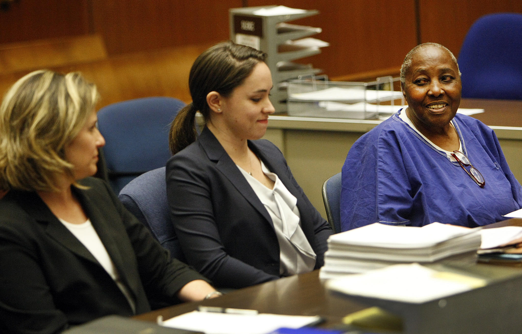 Mary Virginia Jones, right, appears in Los Angeles County Superior Court Monday to plead no contest to voluntary manslaughter with Laura Donaldson, middle, a USC certified law student, and attorney Heidi Rummel, left, a director in USC's Post-Conviction Justice Project.