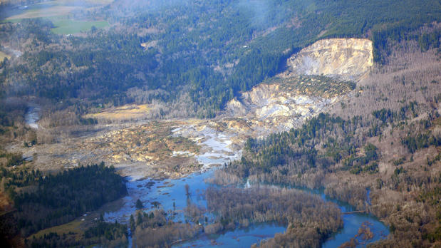 An aerial view of the mudslide shows where the hillside gave way.