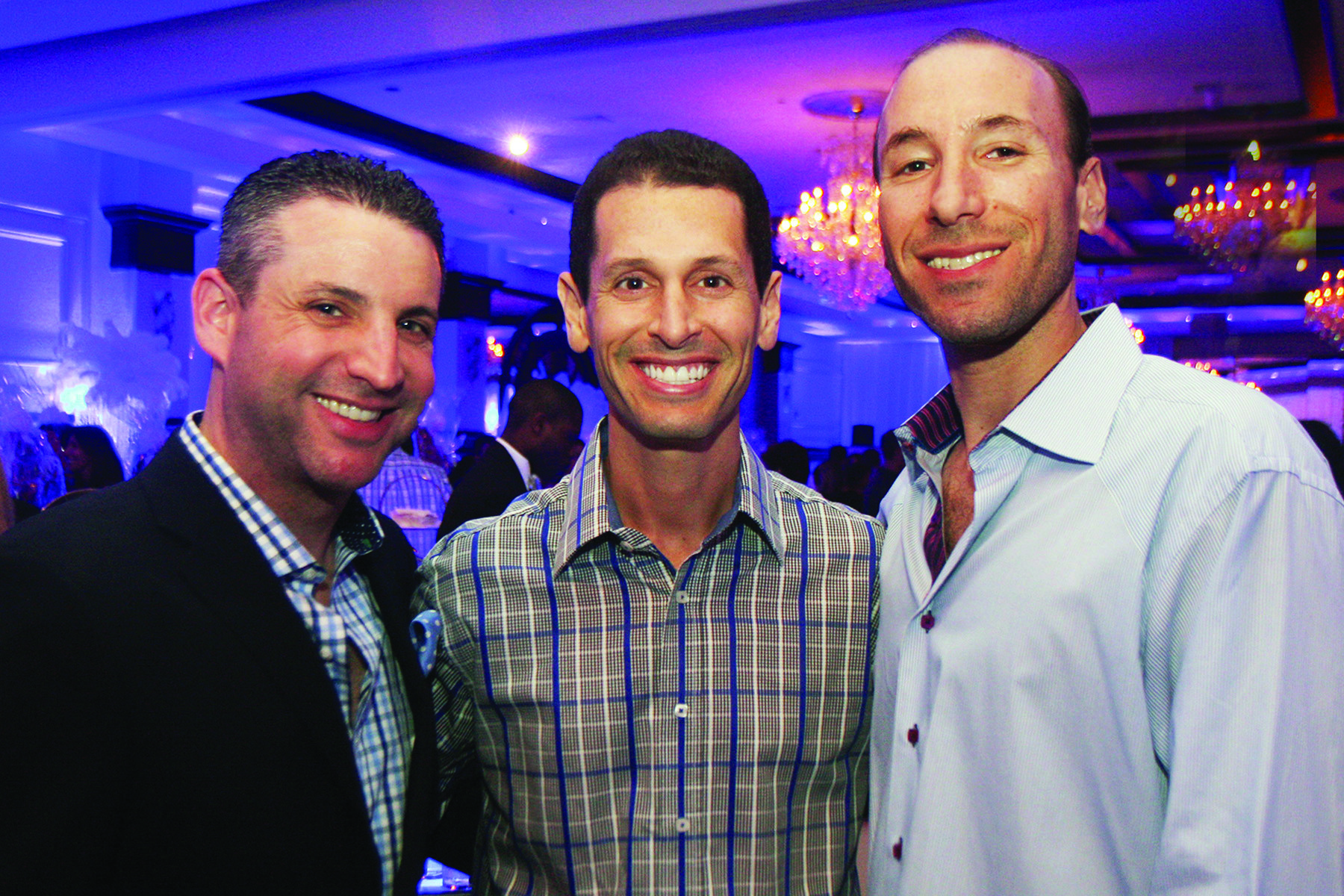 Society Scene photos - Ryan Lieber, left, Jay Vogel and Josh Friedman enjoyed the festivities at Congregation B