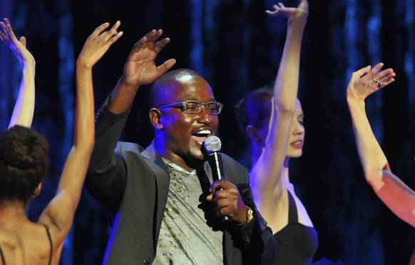 "Hannibal Buress performs beside ballet dancers at the Vic Theatre in Chicago during a taping for Comedy Central ""Hannibal Buress: Live From Chicago."""