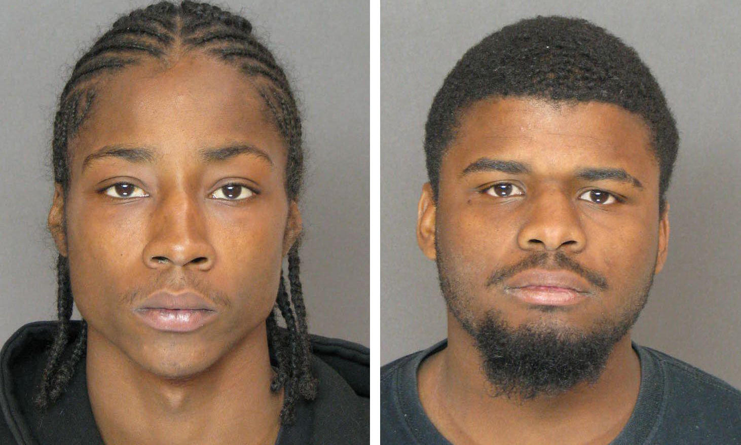 Anne Arundel County police say Corey Jemal Barnes III, 23, left, and Avon Marvin Jackson, 24, have been charged in connection with the shooting of two men last week near Brooklyn Park.