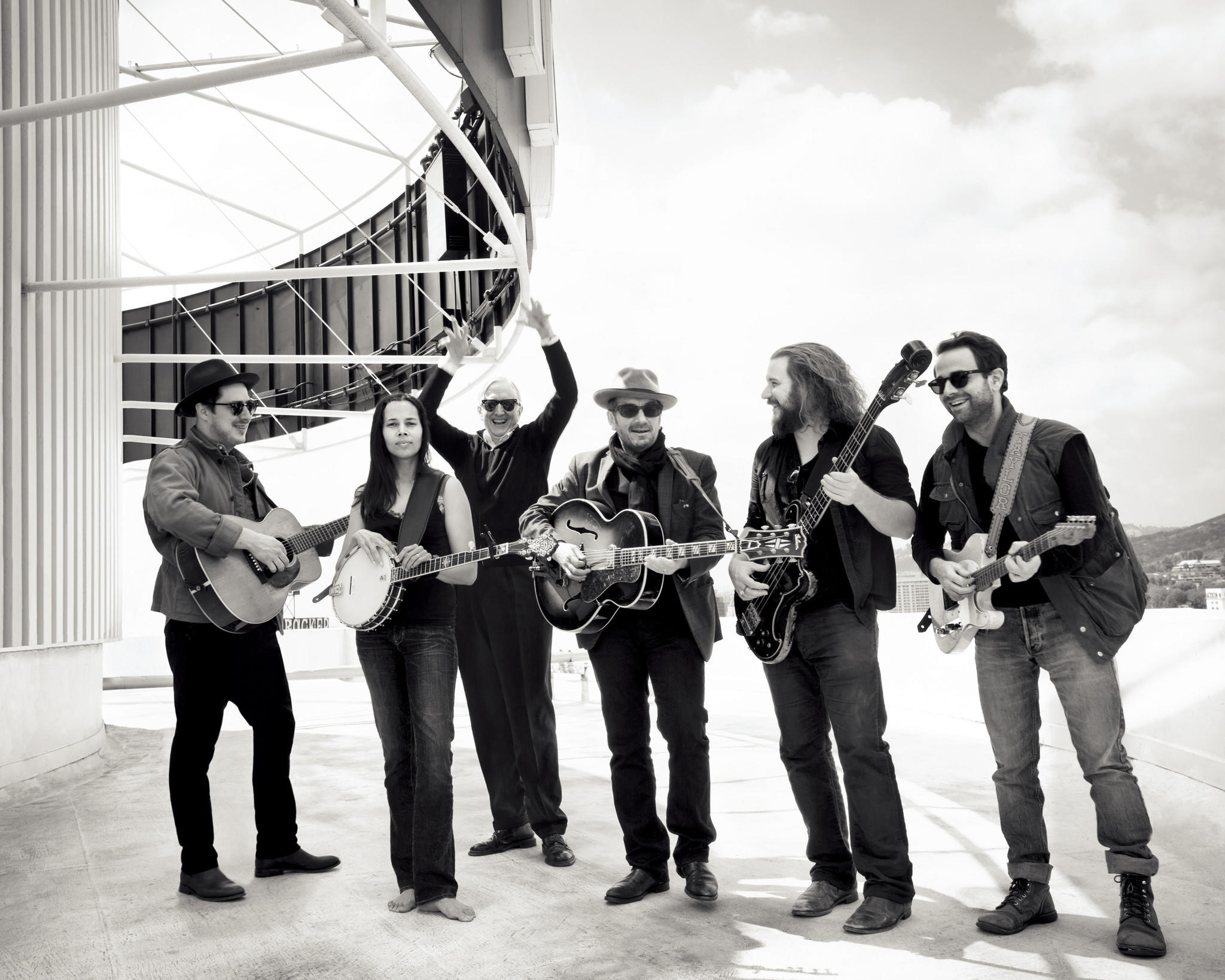 "From left, Marcus Mumford, Rhiannon Giddens, T Bone Burnett, Elvis Costello, Jim James and Taylor Goldsmith in ""Lost Songs: The Basement Tapes Continued."""