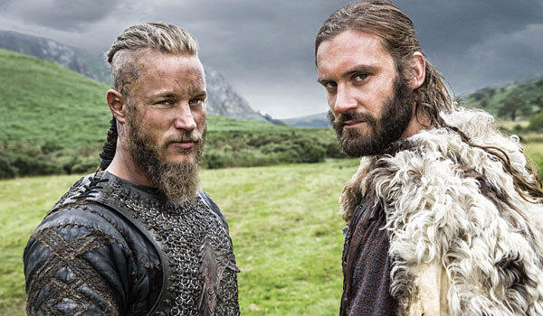 "Travis Fimmel, left, and Clive Standen play Viking brothers in the History series ""Vikings."""