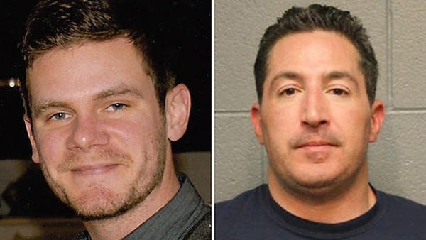 Shane Stokowski, 33, left, was killed after prosecutors say he tried to stop Timothy McShane, right, from driving drunk. Stokowski was carried by McShane's car for nearly a block before he fell off the car. McShane has been with reckless homicide.