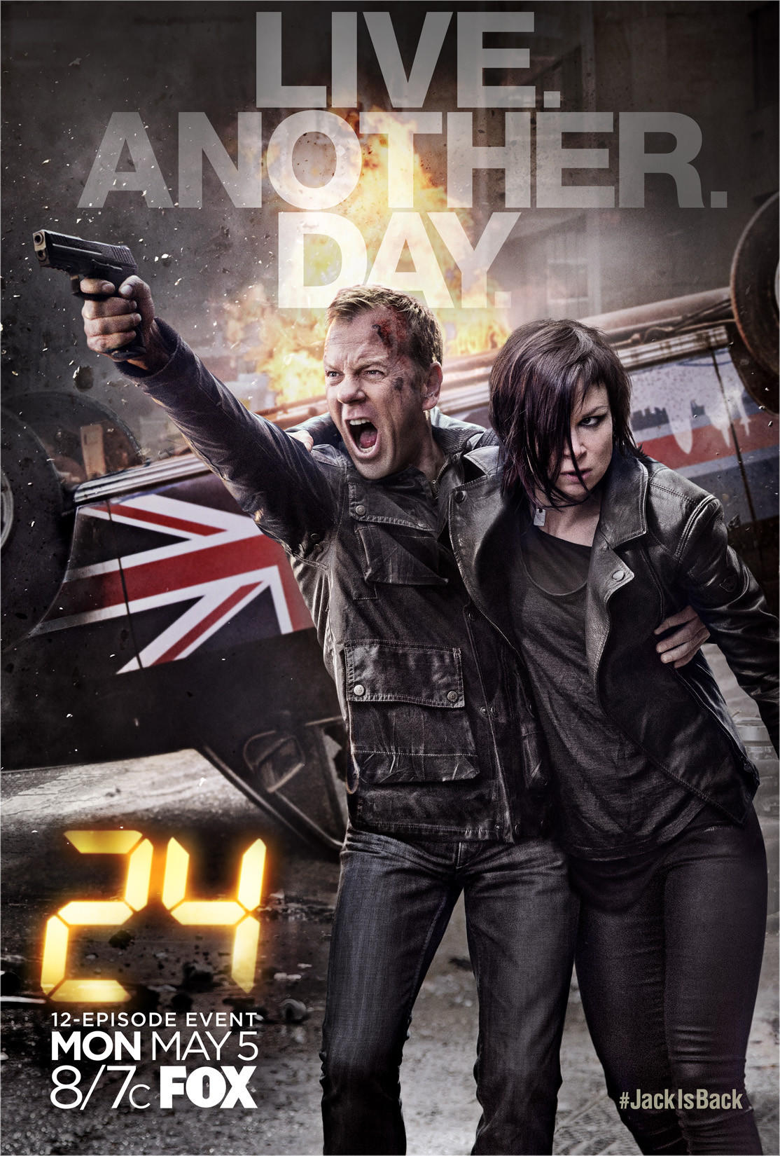 "The key art for ""24: Live Another Day,"" debuting May 5 on Fox, shows Kiefer Sutherland and Mary Lynn Rajskub."