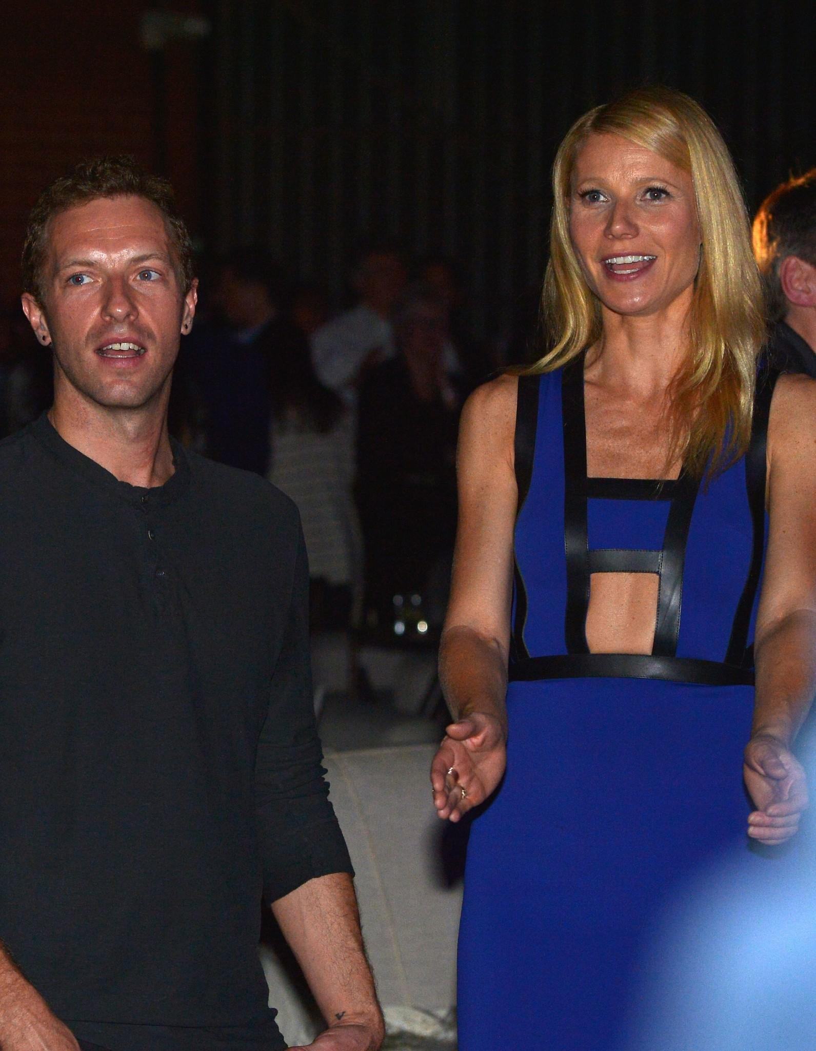 Singer/Songwriter Chris Martin (L) and actress Gwyneth Paltrow attend a charity event together.