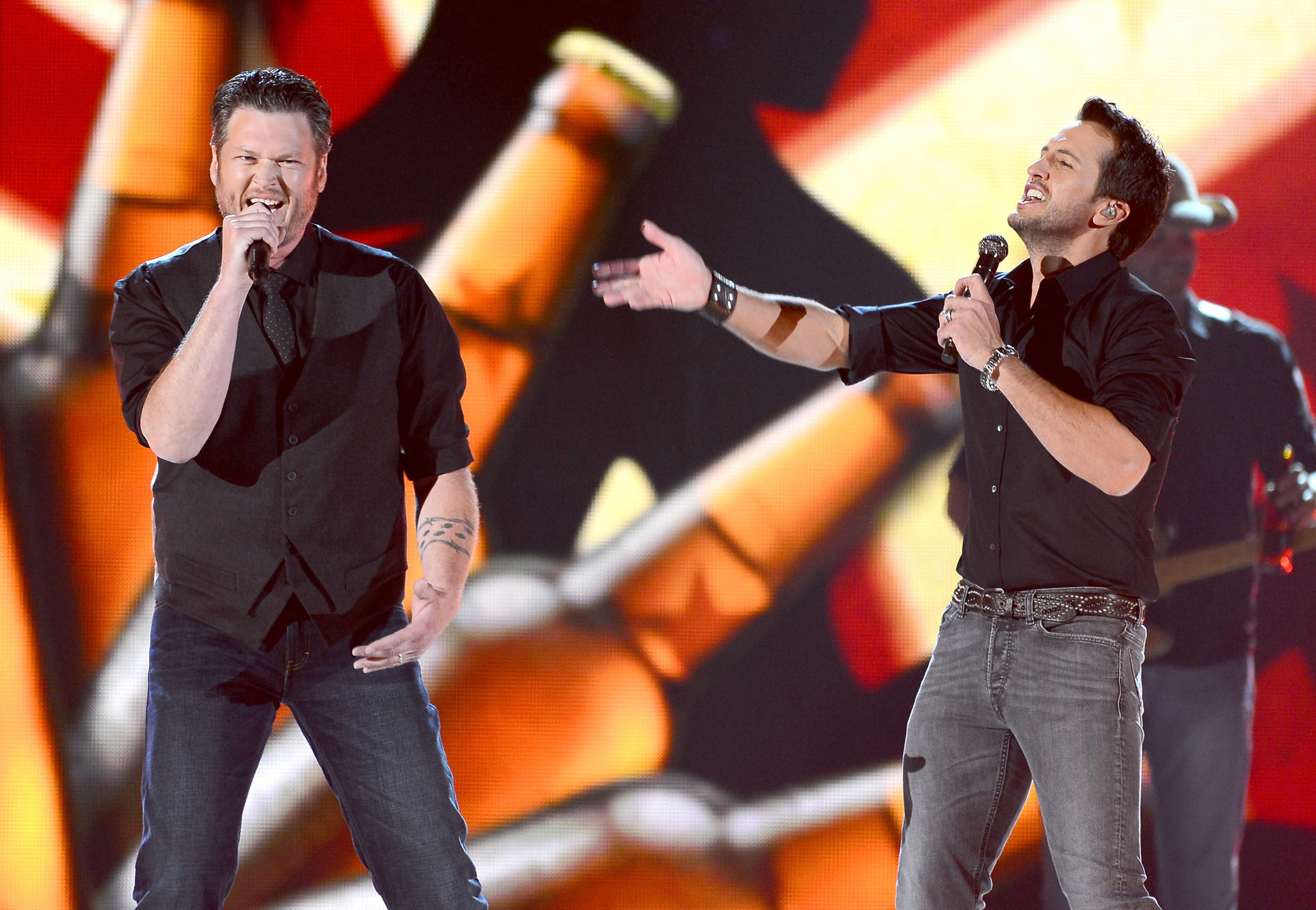 Last year's hosts Blake Shelton, left, and Luke Bryan are set to again lead the awards show April 6, part of a weeklong salute to country music.