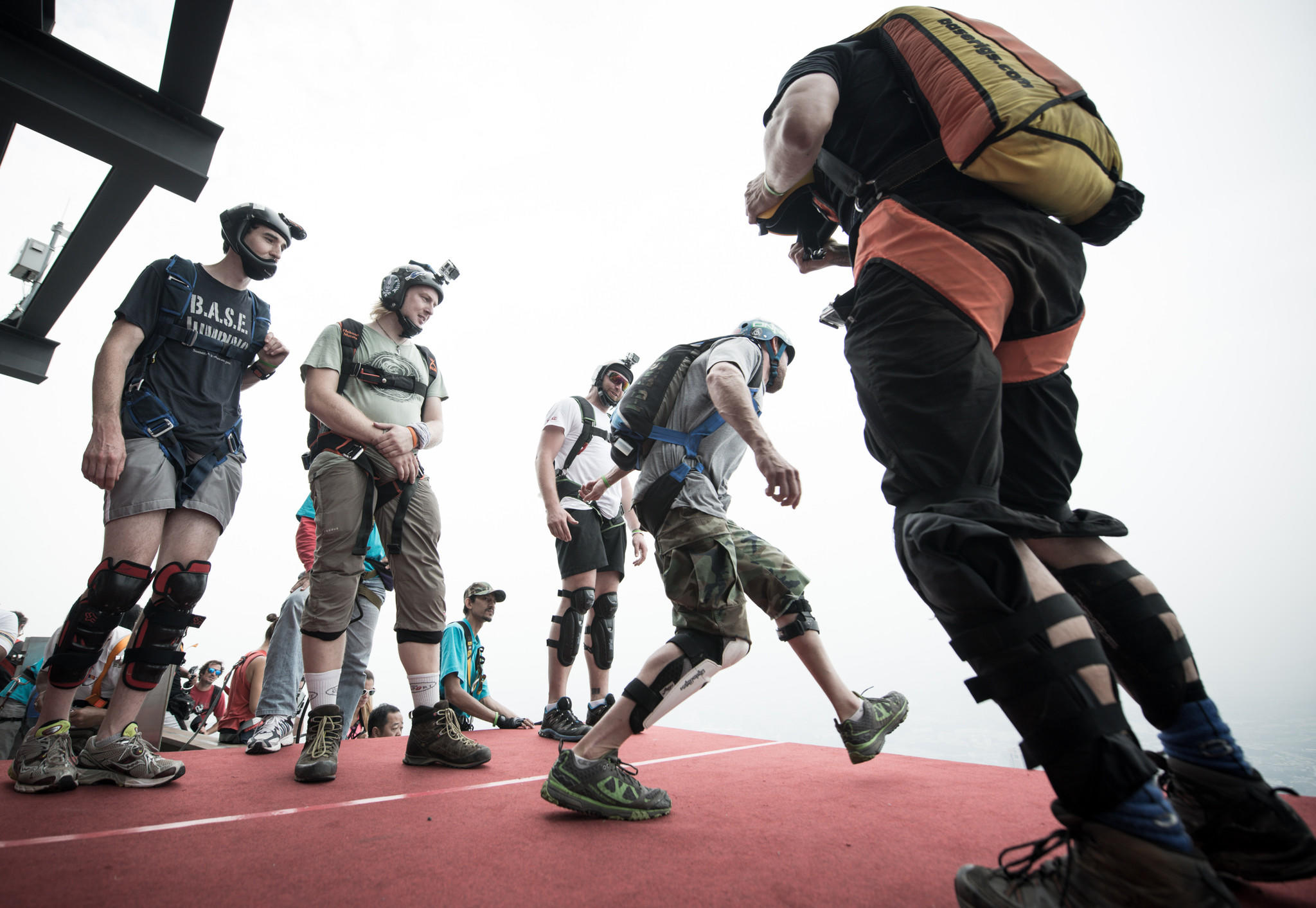 File photo shows base jumpers leaping from the 300-metres Open Deck of the Malaysia's landmark Kuala Lumpur Tower.