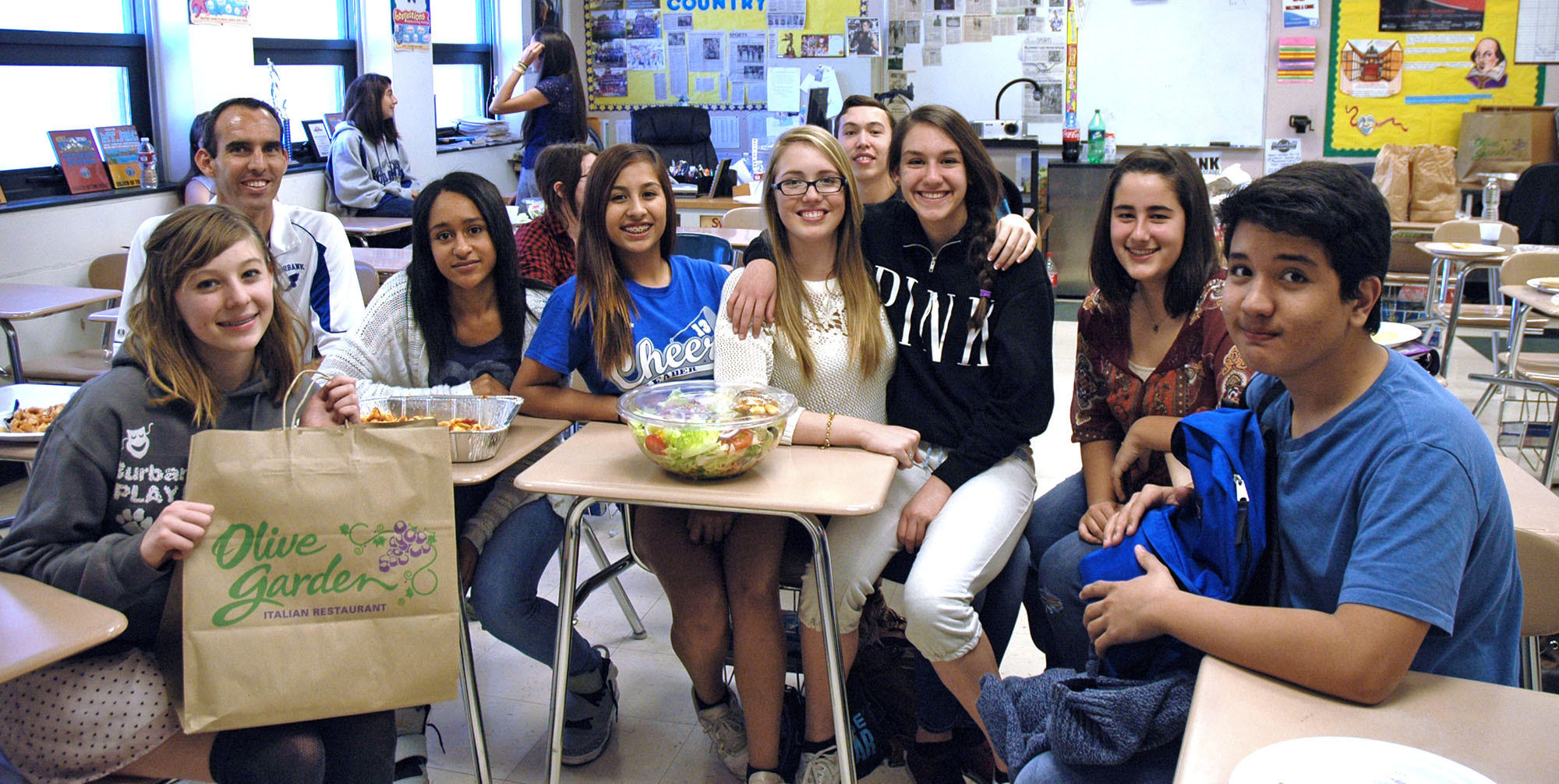 A few of the students who raised the most money for the Leukemia and Lymphoma Society are, from left, Rebekah Maynes, teacher Trevor Marca, Sumani Ojo, Amanda Camacho, Mary Tebbe, Natalie Seremi, Shauna Hosepo and Leonard Wee.