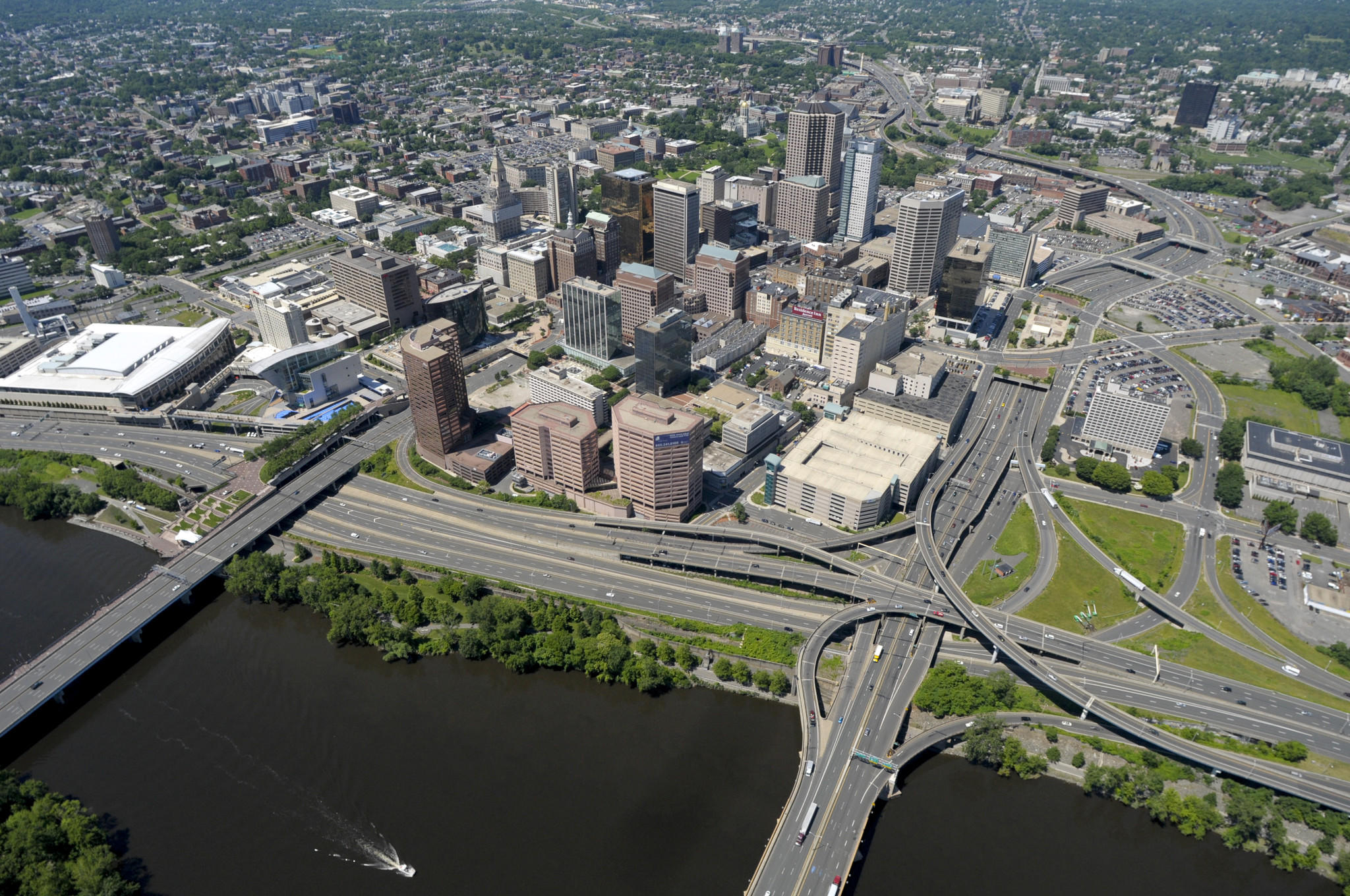 Downtown Hartford is seen from the MetLife blimp on June 20, 2013.