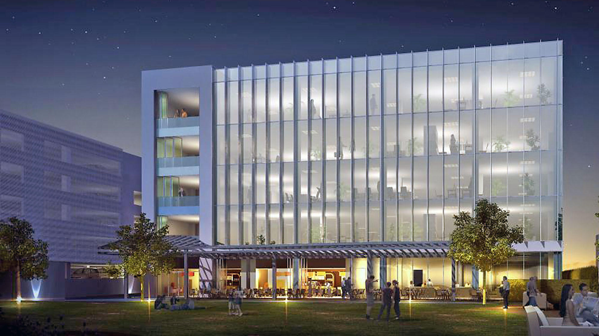 A rendering of a 113,760-square-foot office building proposed to be built at 203 W. Olive Ave. in Burbank. Plans for the project went before the Burbank Planning Board on Monday.