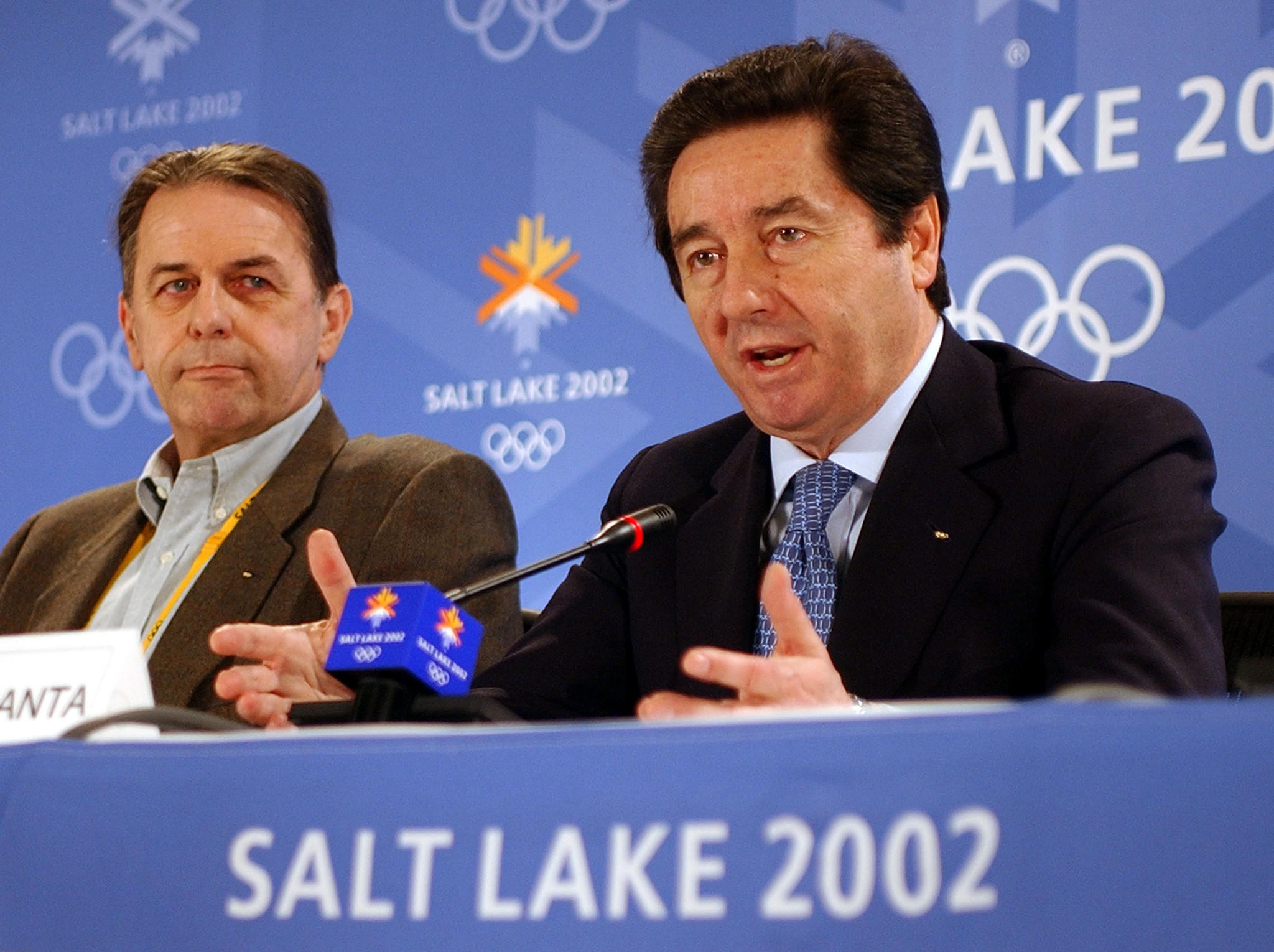 International Skating president Ottavio Cinquanta (right) and IOC president Jacques Rogge in 2002.
